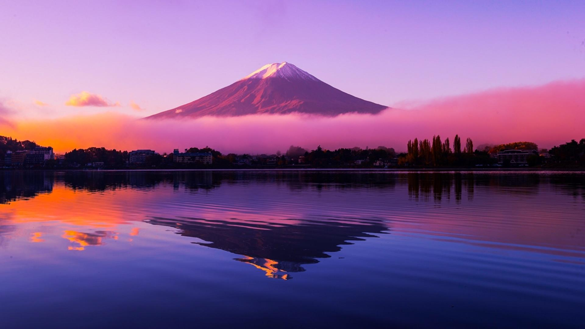 Picture of Mount Fuji in Japan with added colour   wallpaper 1920x1080