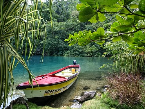 Boat in Blue Lagoon Jamaica picture 500x375