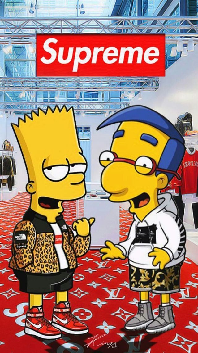 Bart Simpson Supreme phone wallpaper for iPhone iPad Android 640x1137