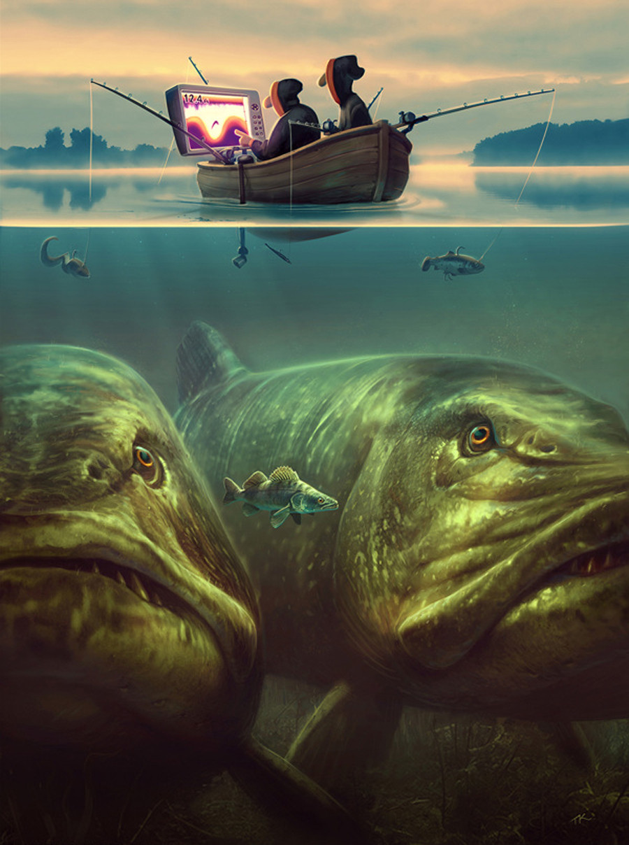 I dont see much fishing related fantasy art but these are great 900x1208