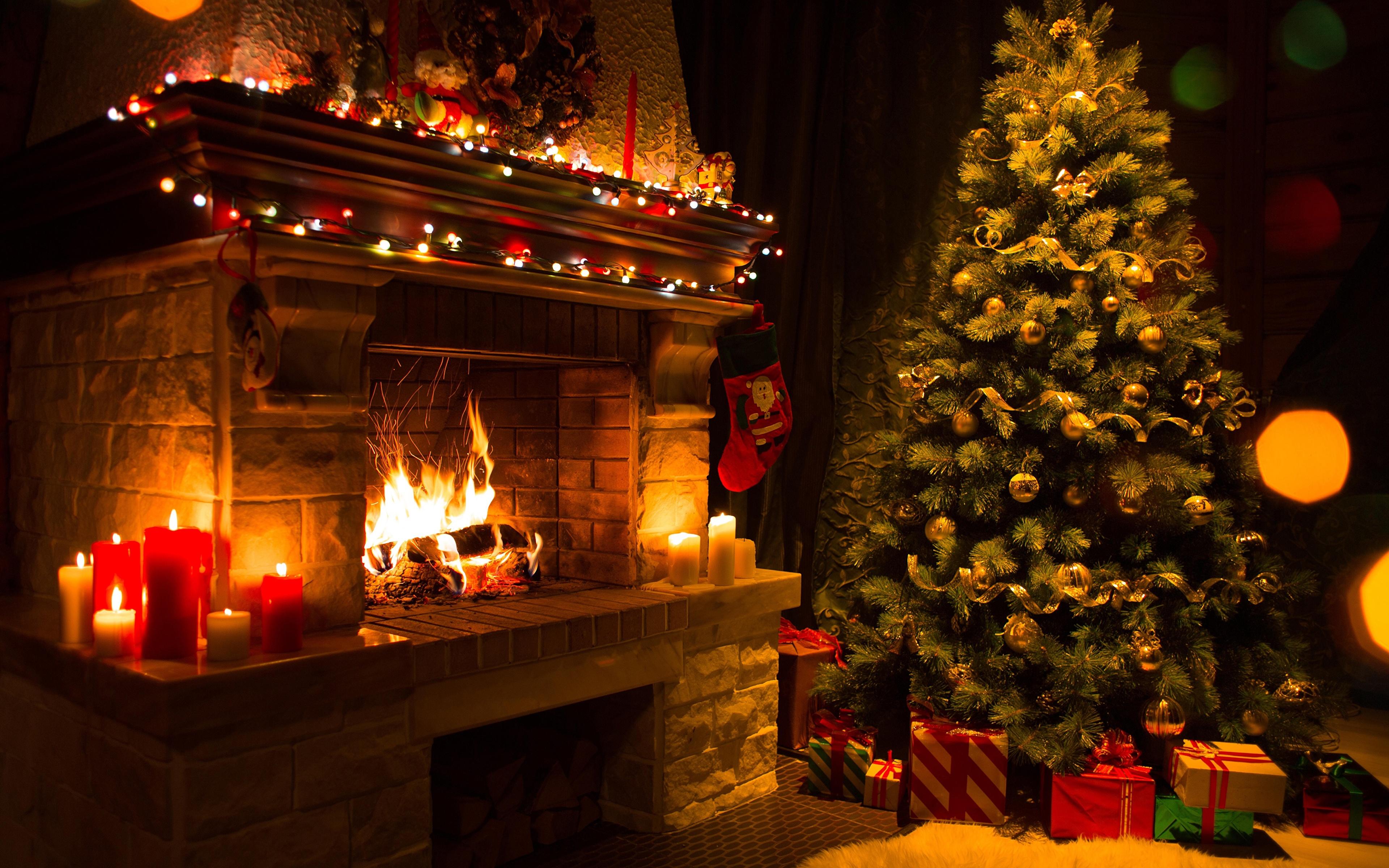 Photos New year Christmas tree Fire present Fireplace 3840x2400 3840x2400
