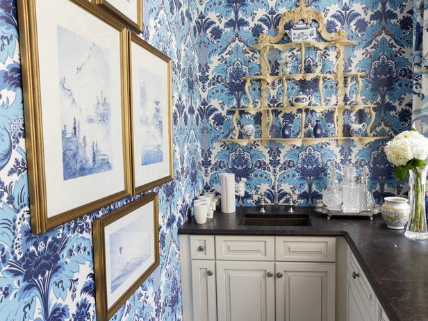 Traditional Kitchen with Blue Damask Style Wallpaper and White 616x462