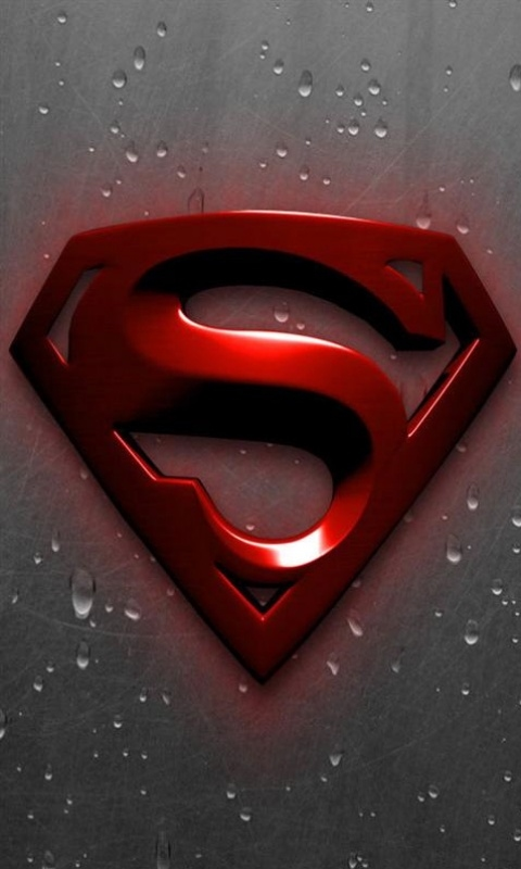 Wet Superman Logo Mobile Phone Wallpapers 480x800 Mobile Phone Images 480x800