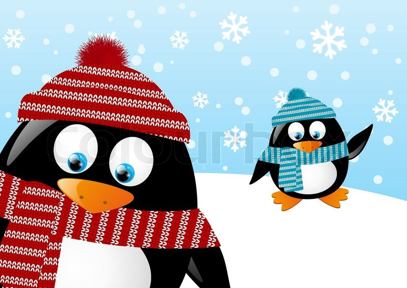 Cute penguins on winter background | Vector | Colourbox
