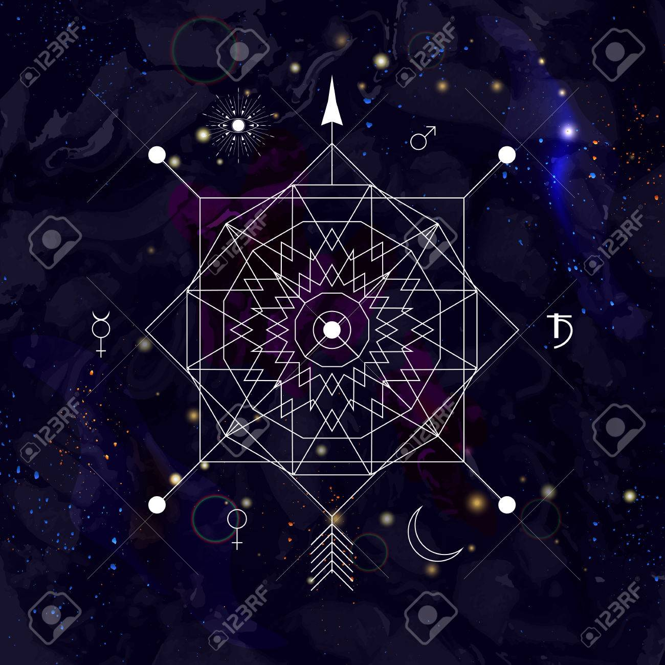 Mystical Geometry Symbol On Space Background Linear Alchemy 1300x1300