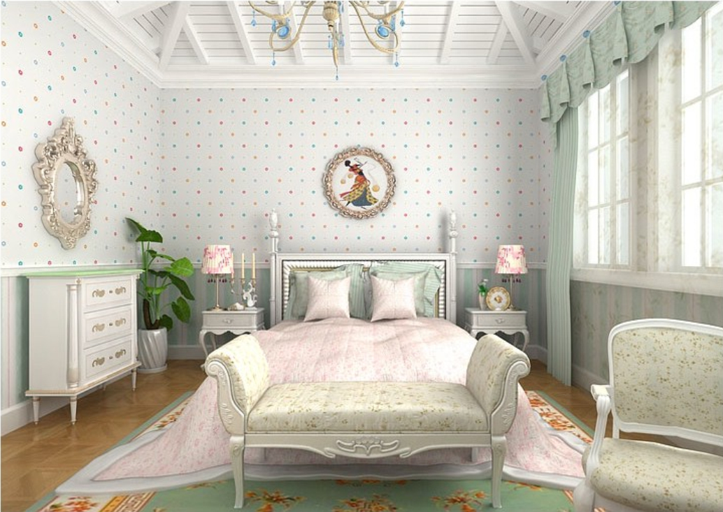 Fresh and simple wallpaper for girl bedroom 1034x733