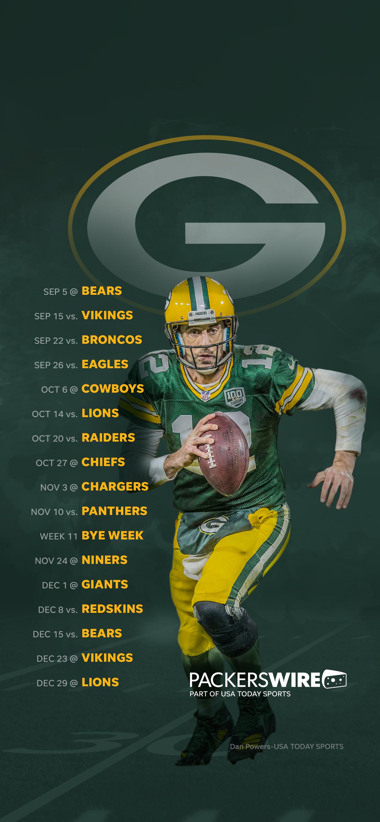 2019 Green Bay Packers Schedule Downloadable Wallpaper 1242x2688