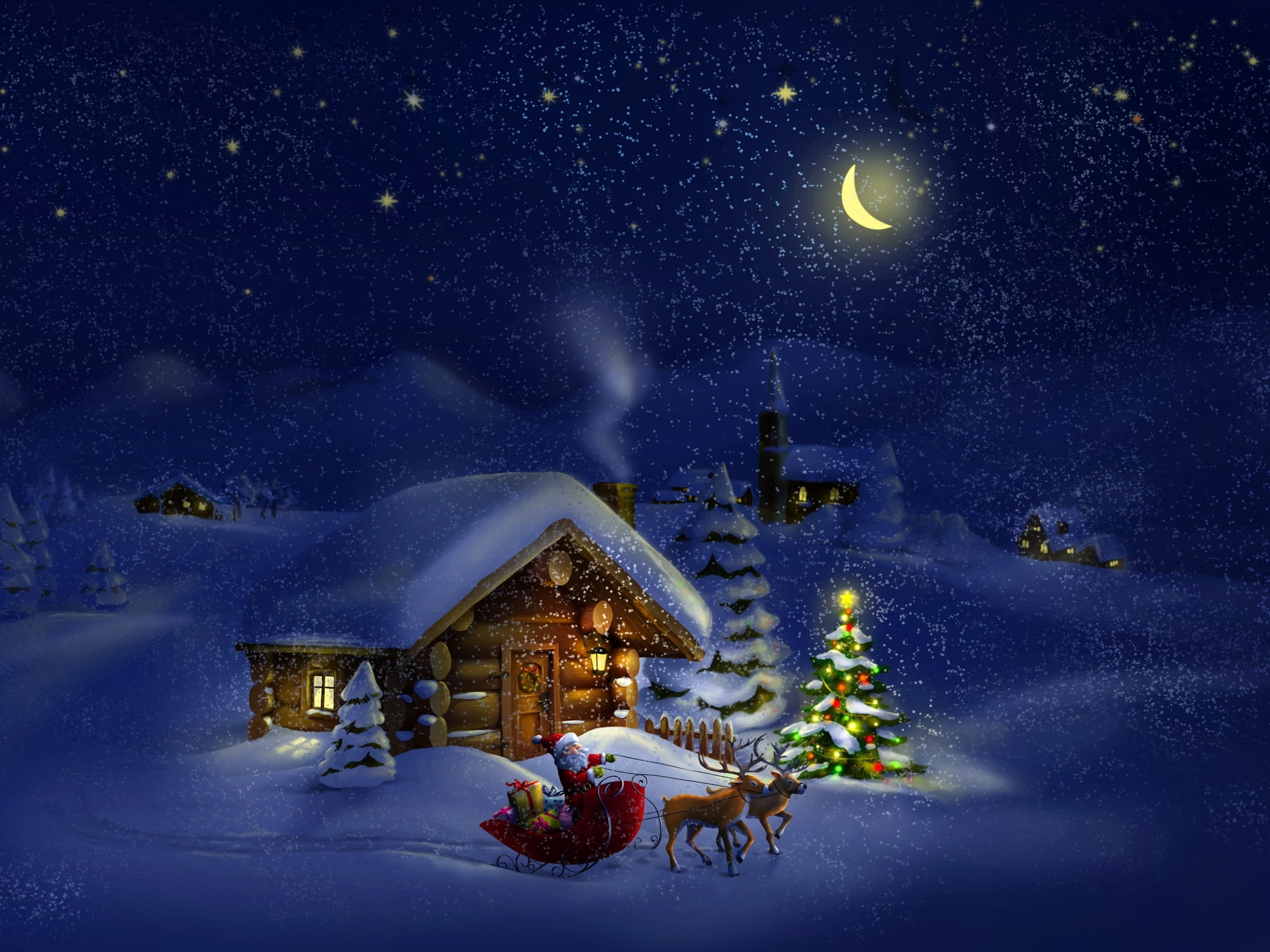 Christmas night with Santa 4K Ultra HD wallpaper 4k WallpaperNet 2048x1536