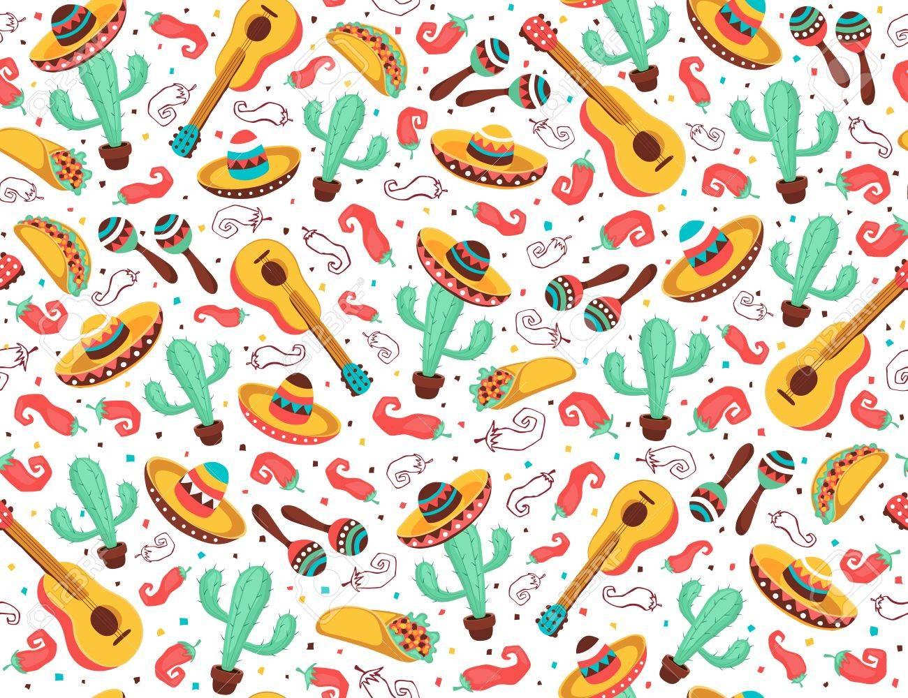 Viva Mexico Seamless Pattern Mexican Culture Symbols On Black 1300x1000