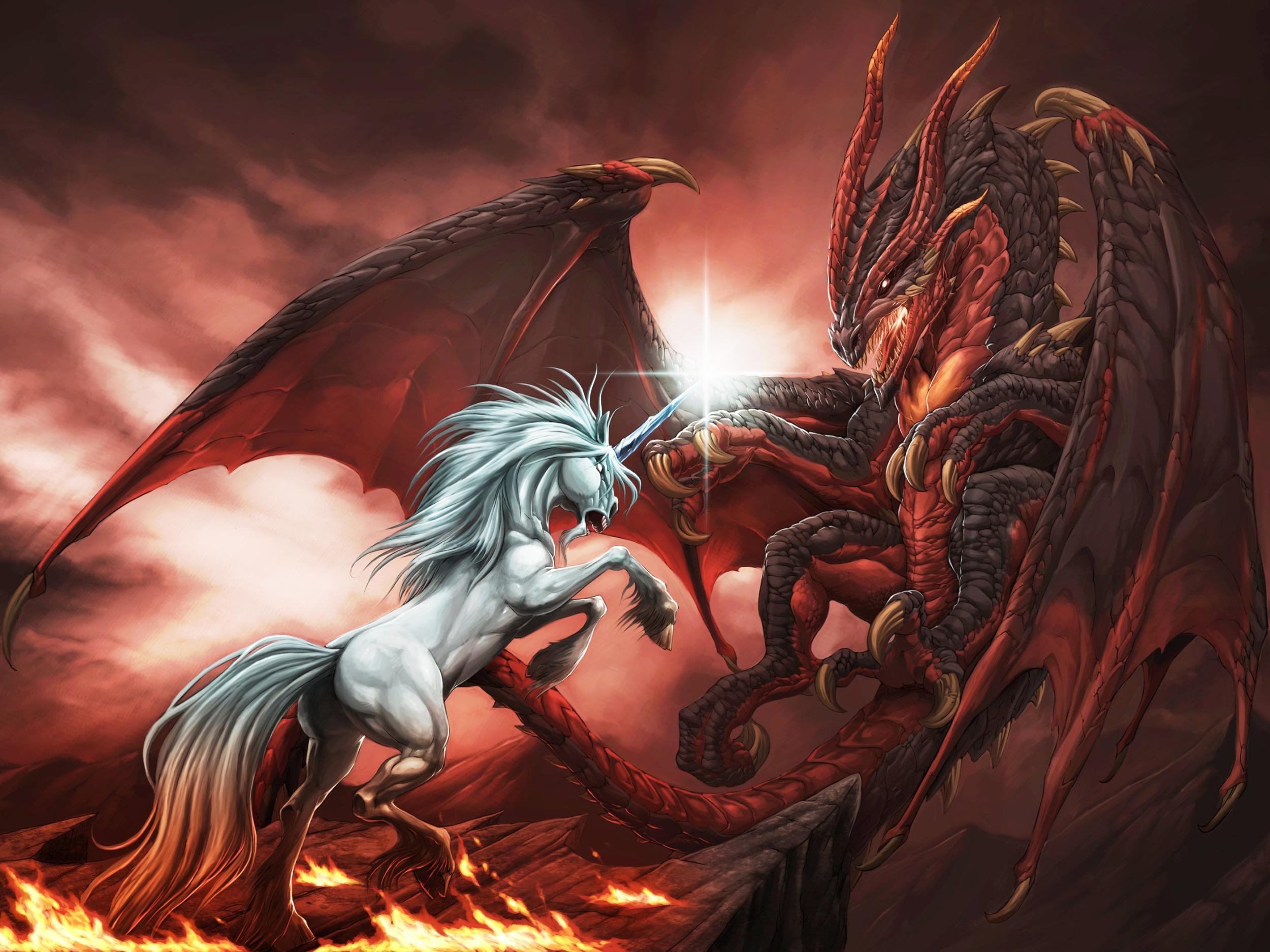 hd wallpaper dragon vs licorne 2500x1875
