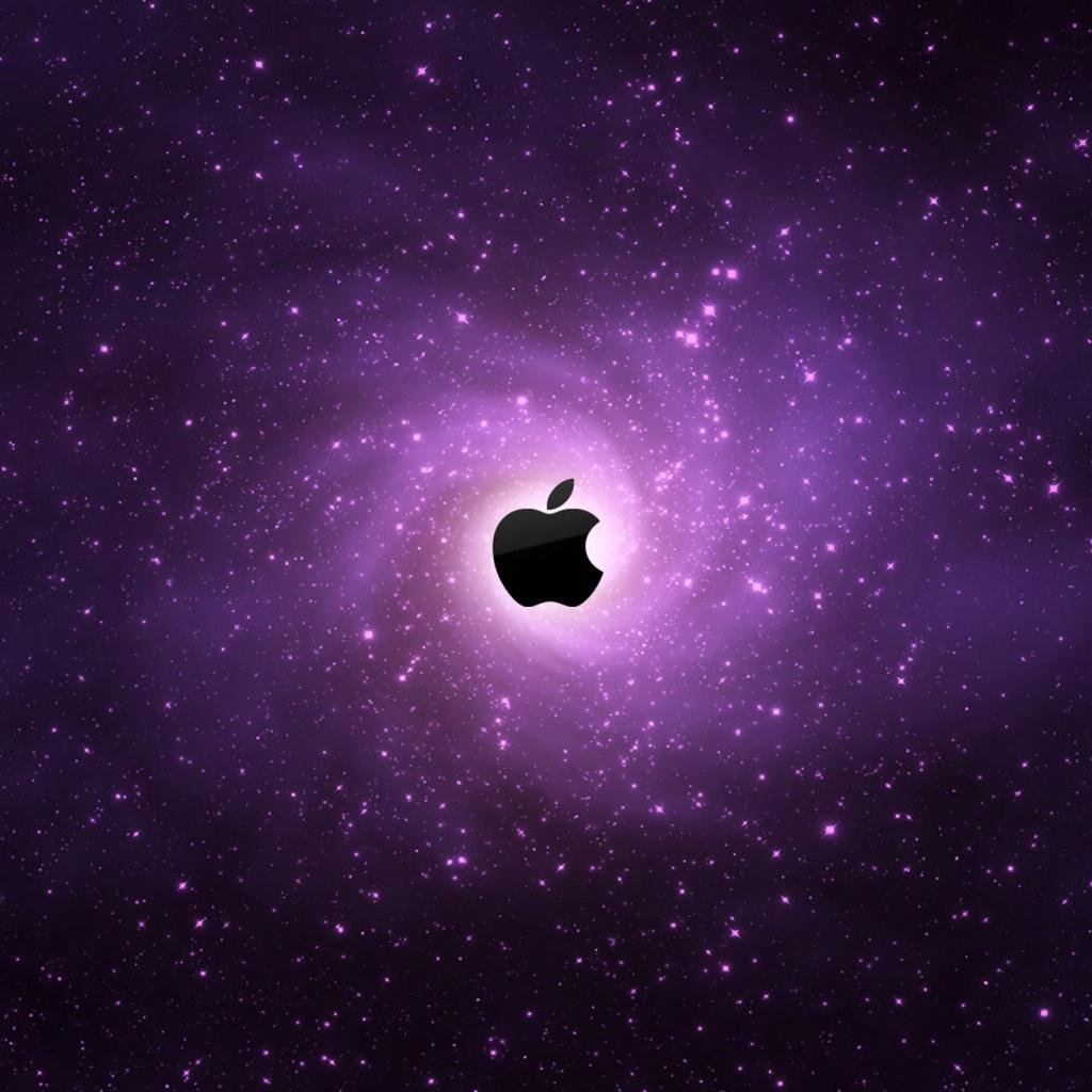galaxy stars apple logo symbol ipad hd wallpapers 1024x1024 1024x1024