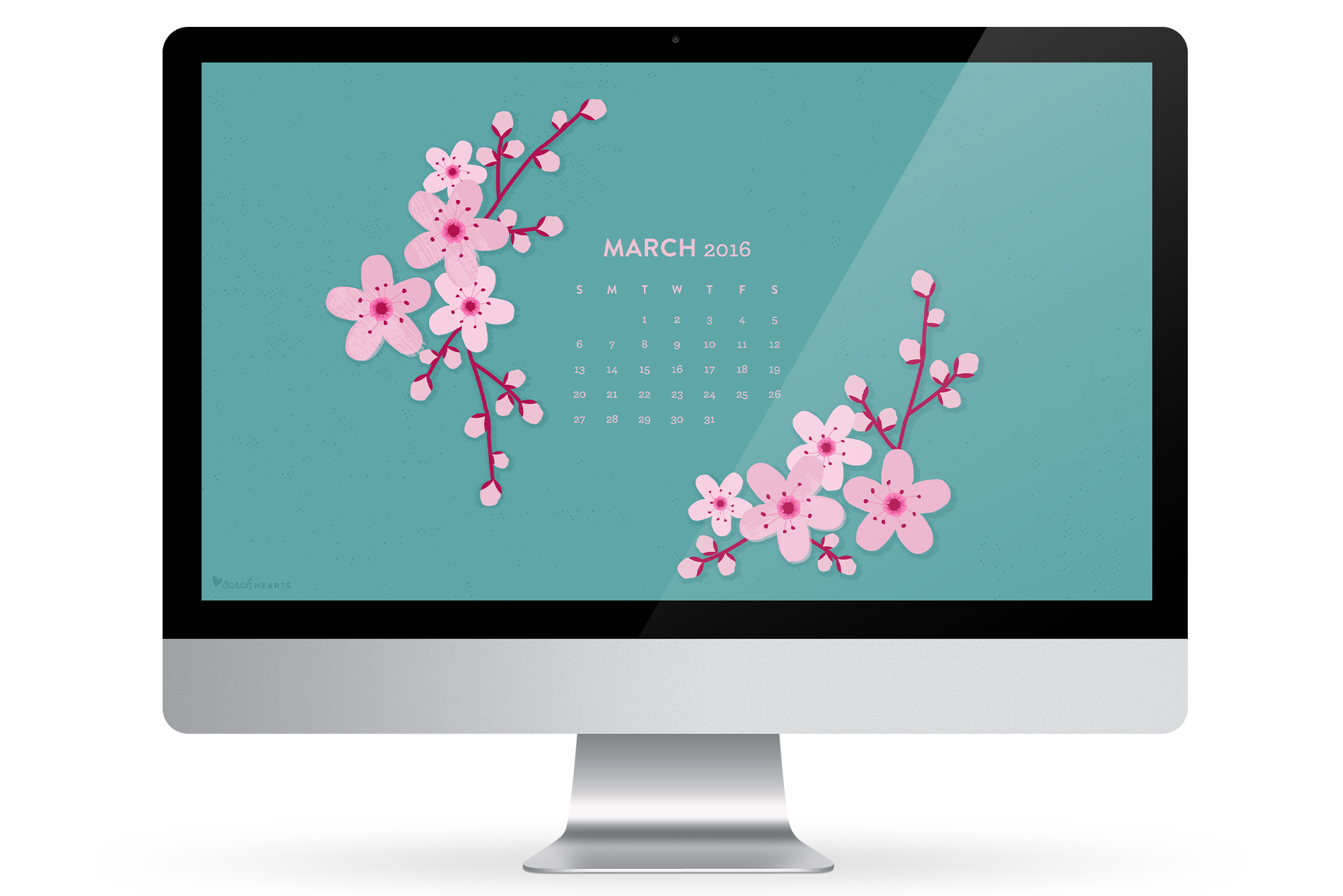 phone or tablet with this cherry blossom calendar wallpaper 2000x1334