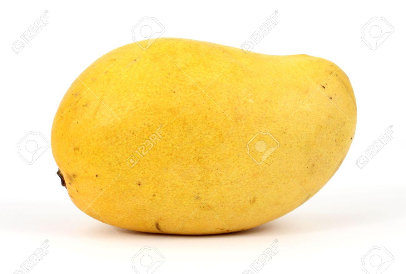 A Fresh Yellow Mango On A White Background Stock Photo Picture 1300x877