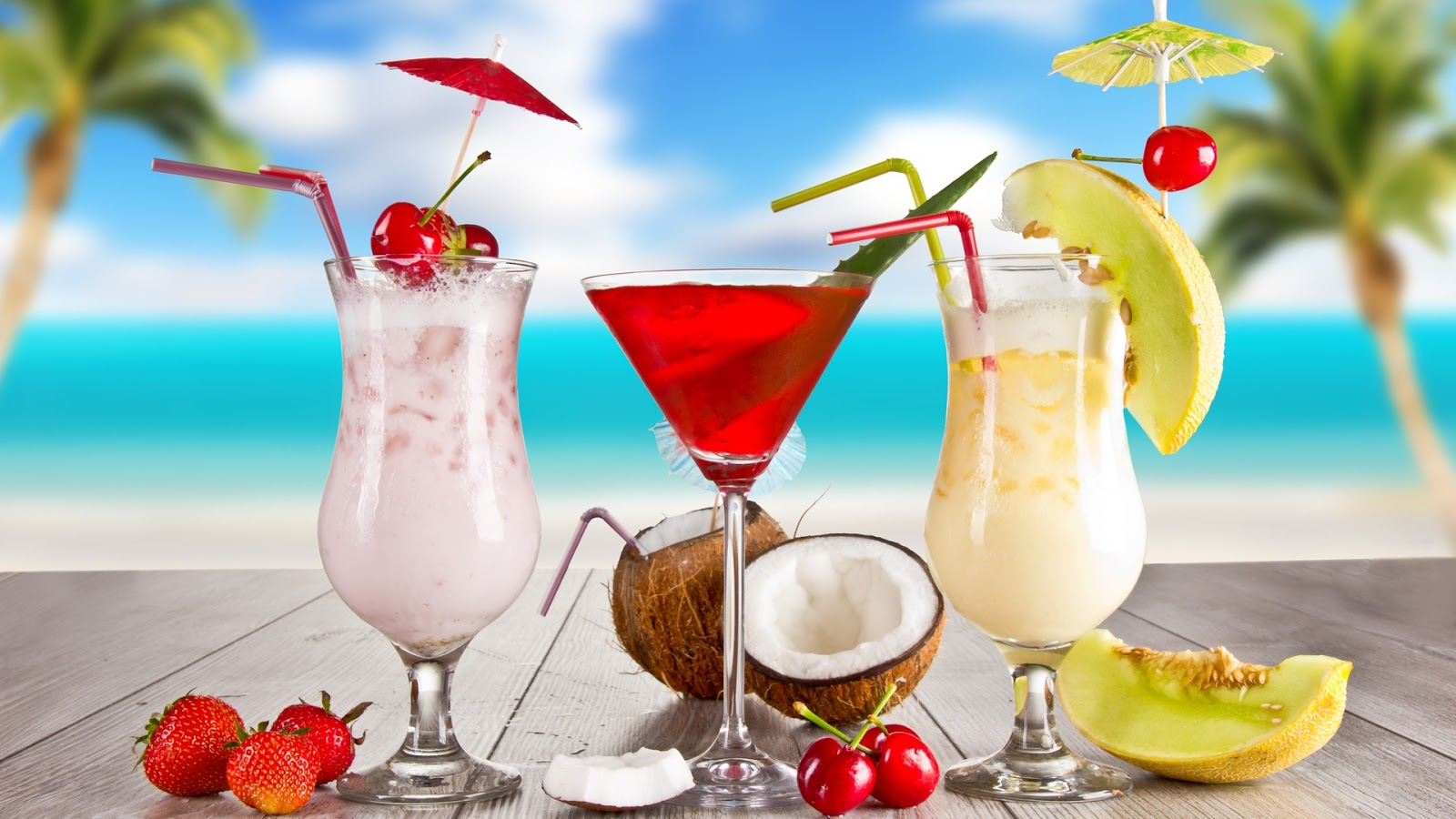 Tropical Cocktail Beach Drink HDQ Wallpapers 1600x900