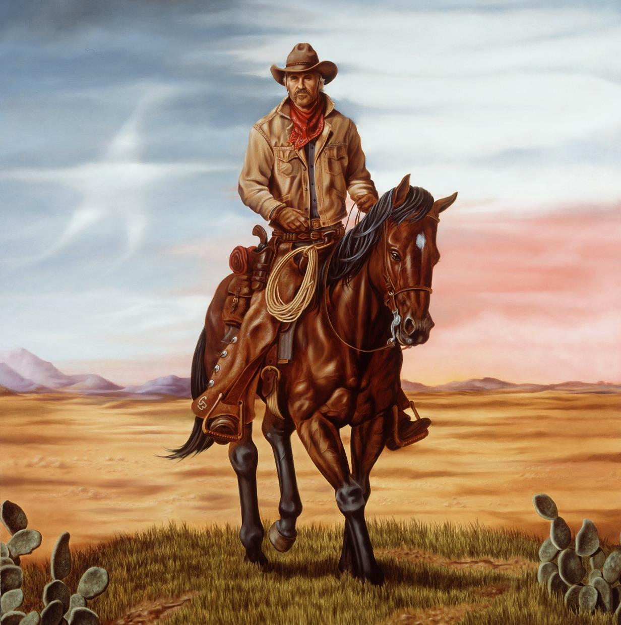 Western Cowboy Art Painting HD Wallpaper 1232x1239