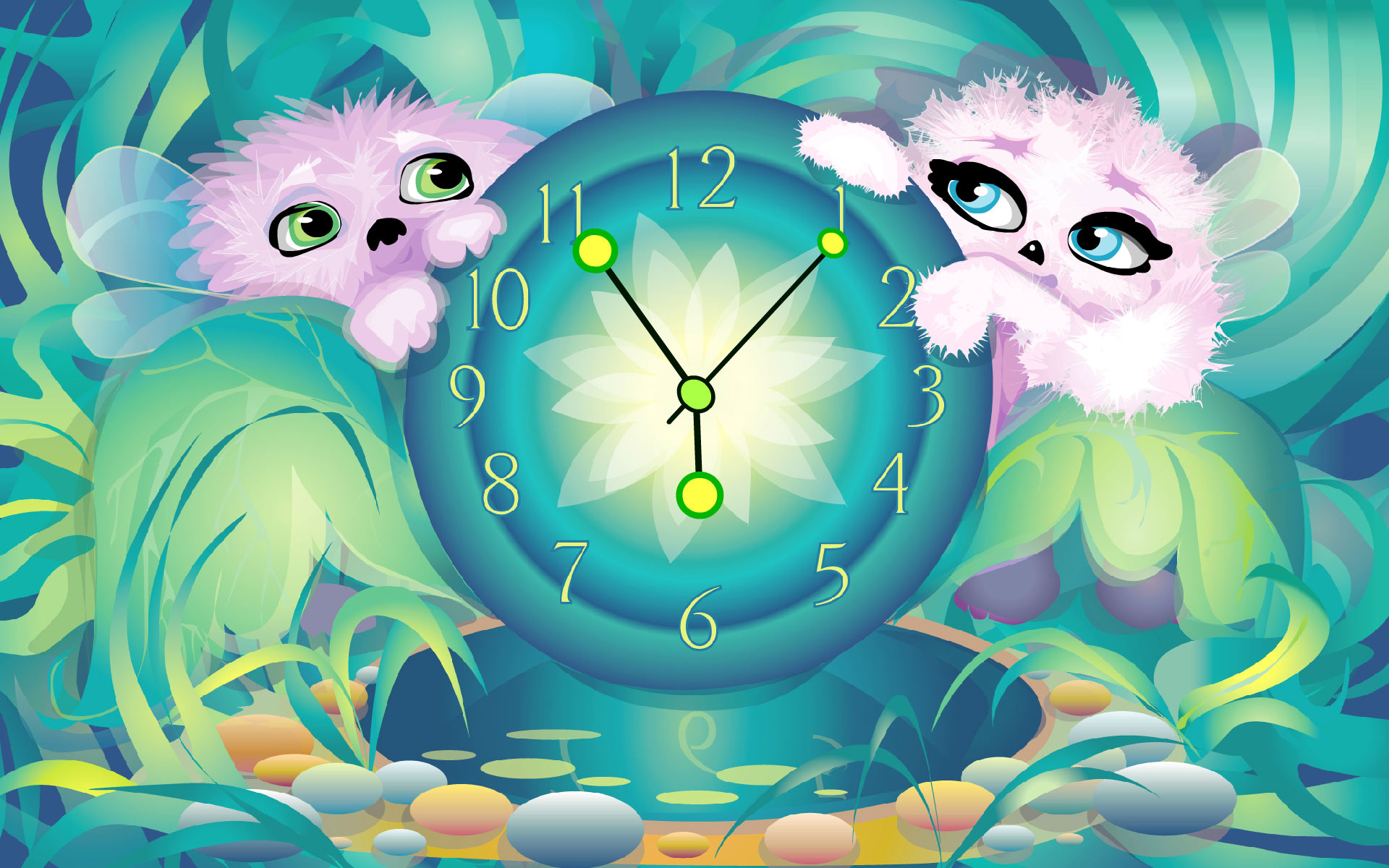 Alien Pets Clock screensaver   download screensaver Get a 1920x1200