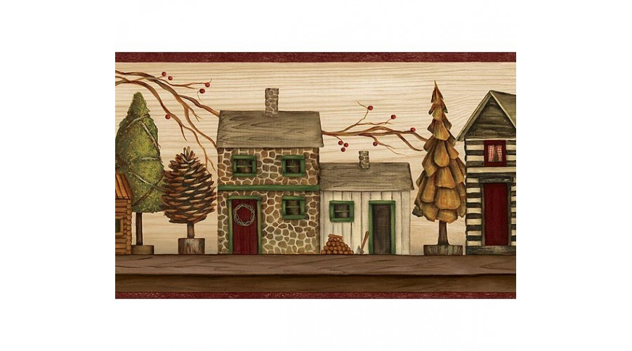 Home Burgundy and Beige Lodge Houses Wallpaper Border 900x500