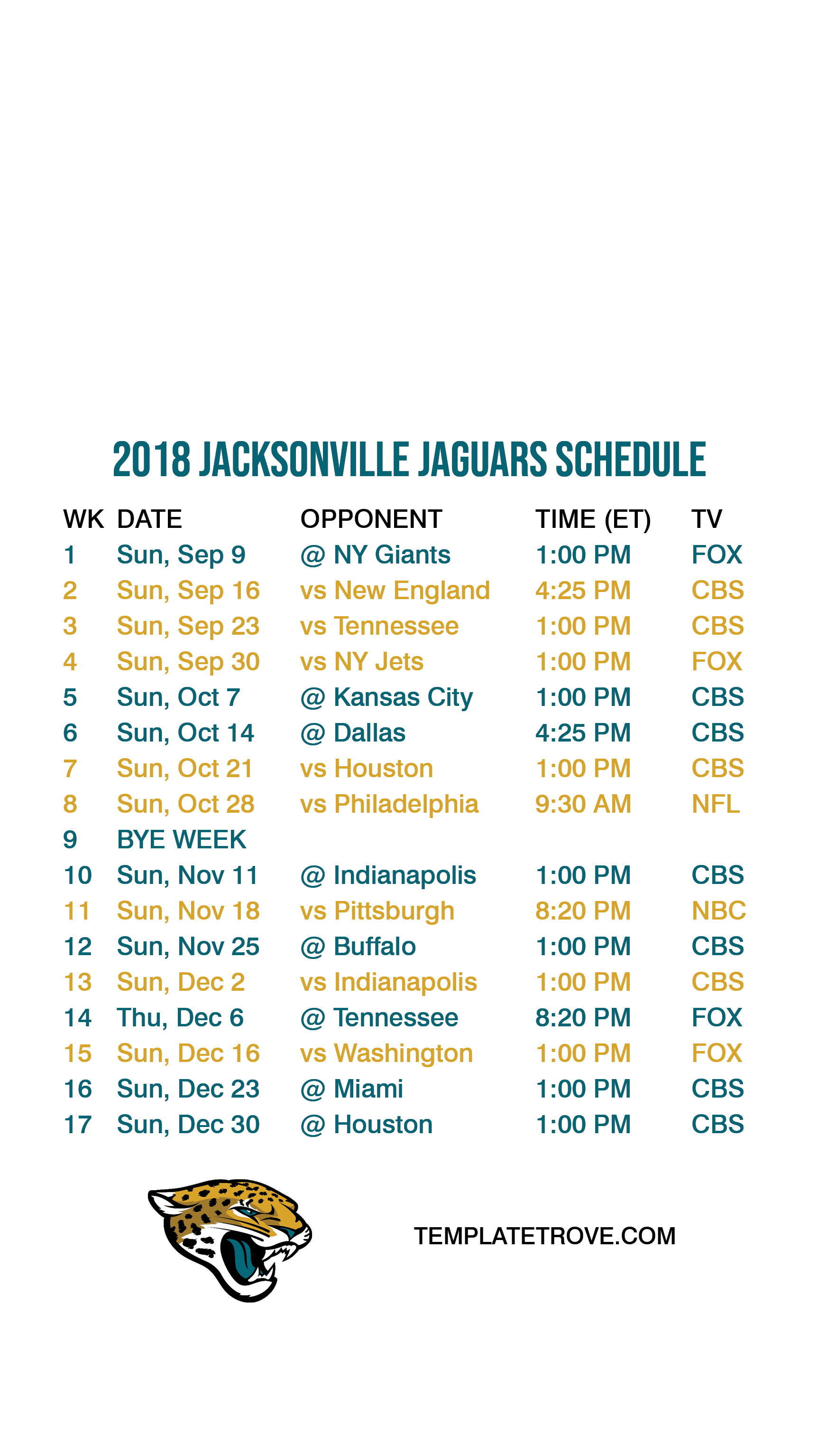 2018 2019 Jacksonville Jaguars Lock Screen Schedule for iPhone 6 7 1725x3067