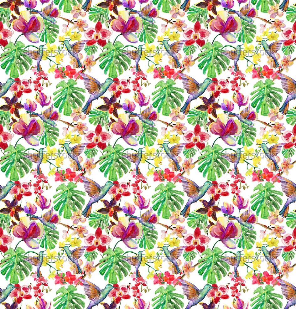 Tropical Leaf Pattern Seamless watercolor pattern 945x987