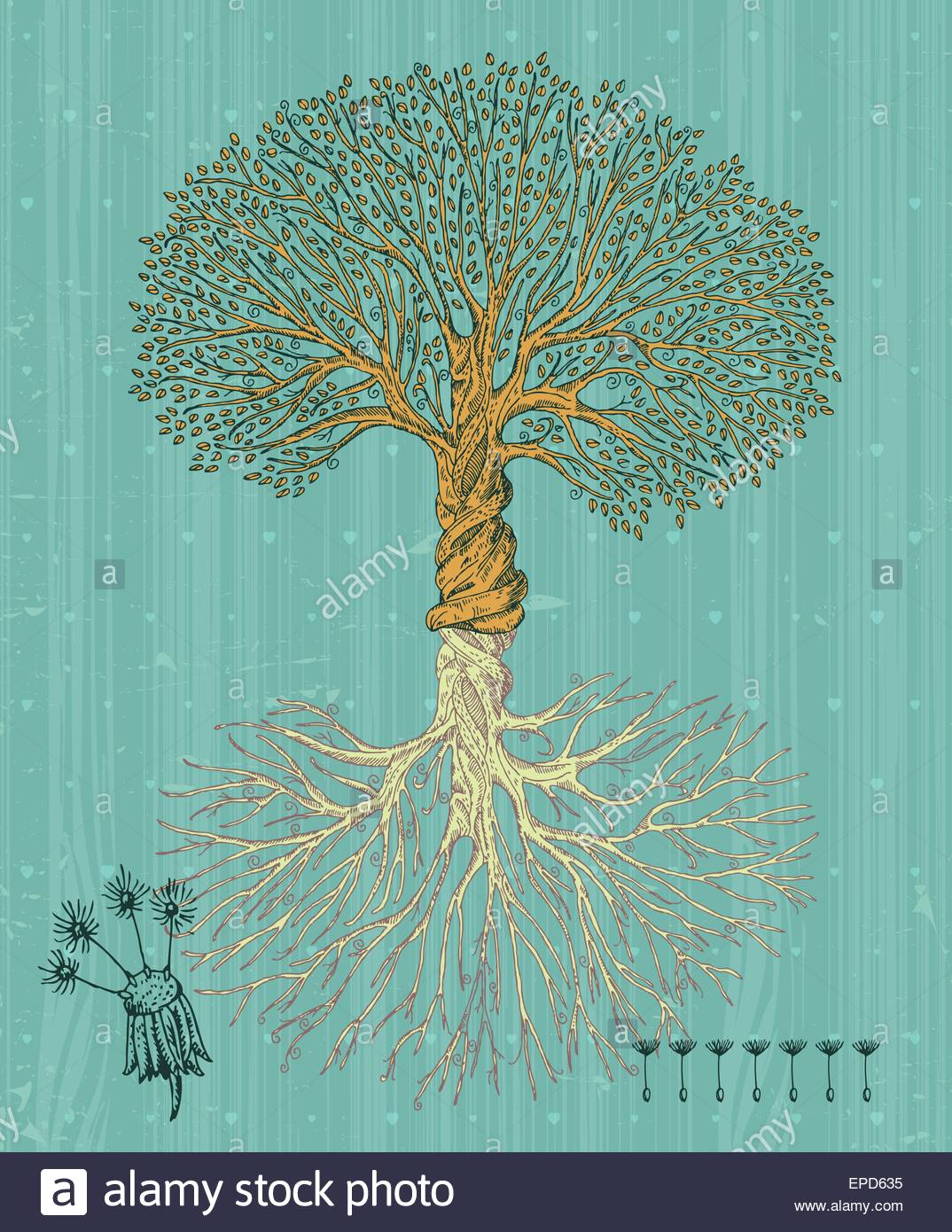 Tree with roots on rough background Arbor day poster in vintage 1074x1390