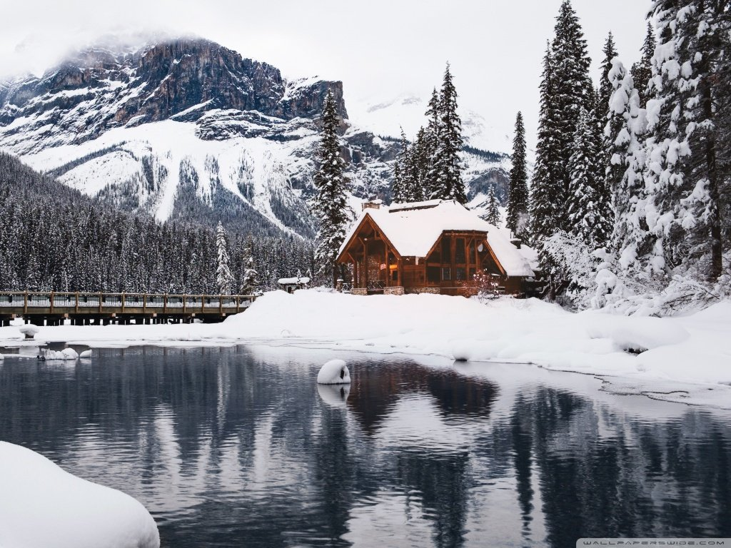 Rustic Cottage Lake Mountain Winter Snow 4K HD Desktop 1024x768