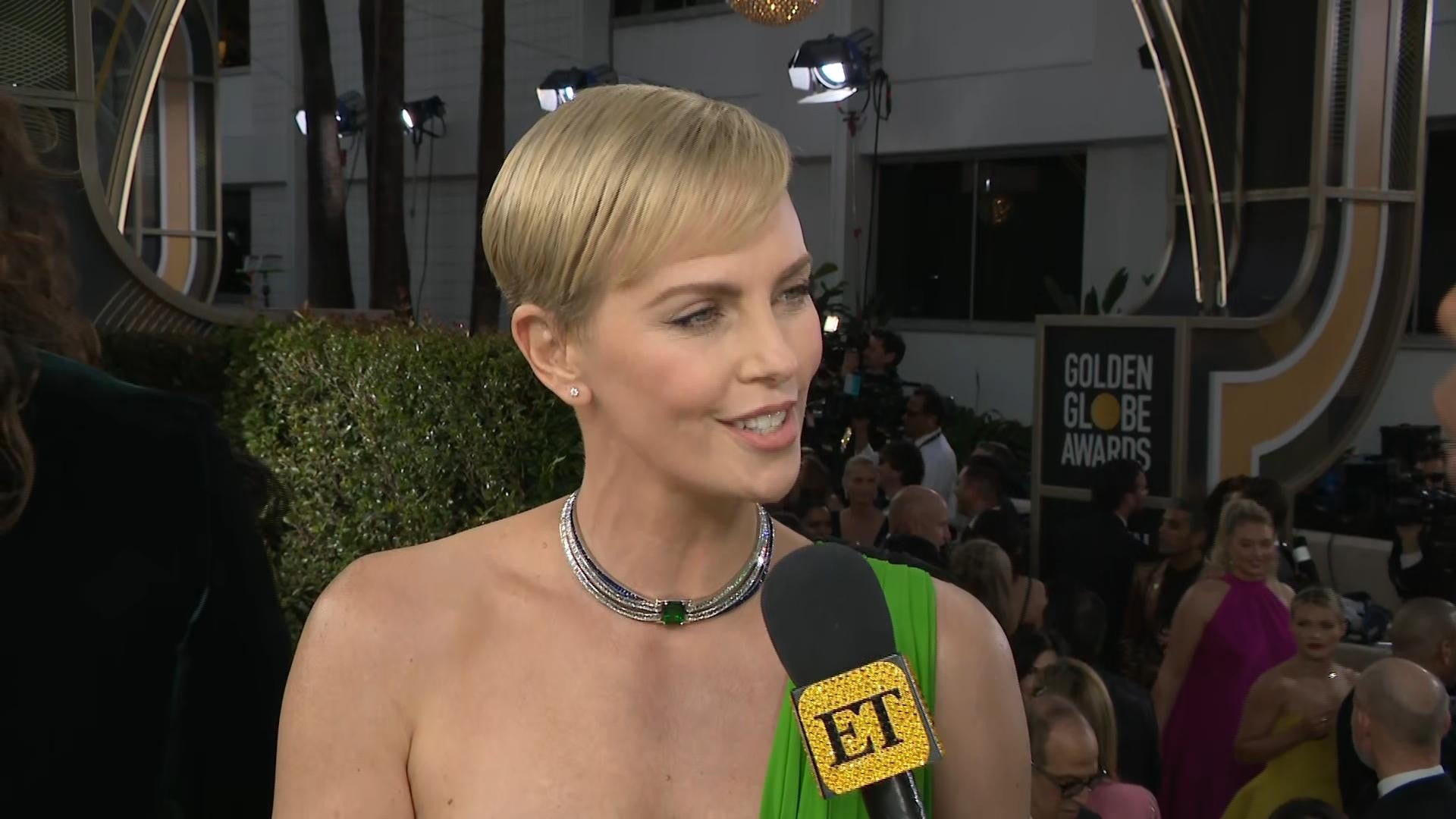 Charlize Theron Slays 2020 Golden Globes Red Carpet in Sexy One 1920x1080