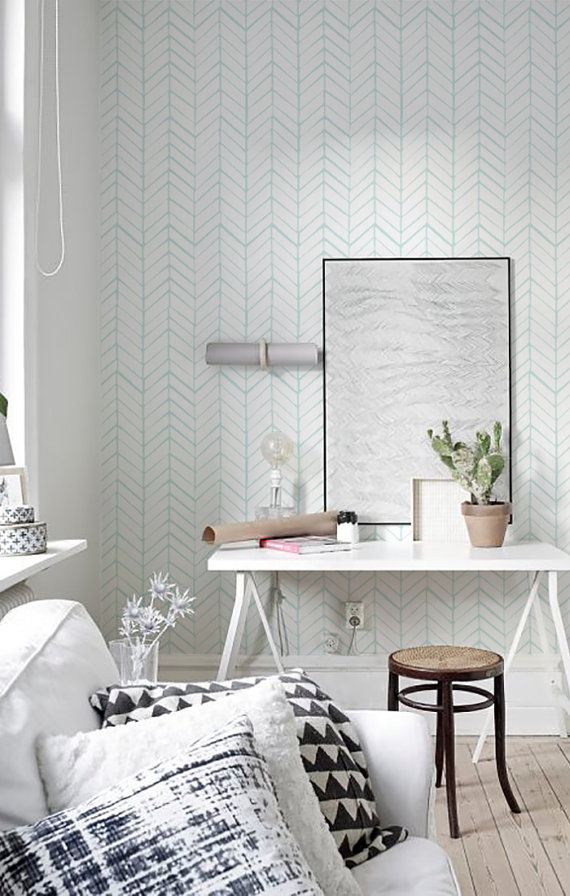 Peel and Stick Self adhesive vinyl wallpaper   Herringbone pattern 570x896