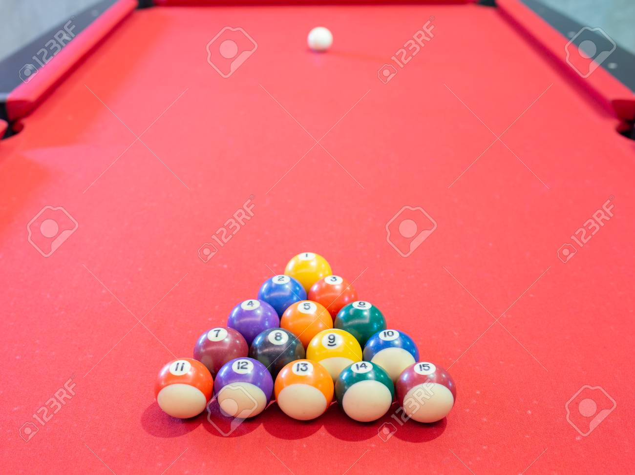 Billiard Ball On Red Table Background In Pub Bar Room Concept 1300x973