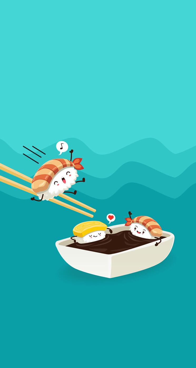 sushiWallpaper divertido Kawaii wallpaper Cute drawings Cute 744x1392