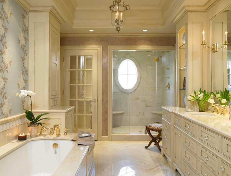 30 Bathroom Wallpaper Ideas Photo 25 740x565
