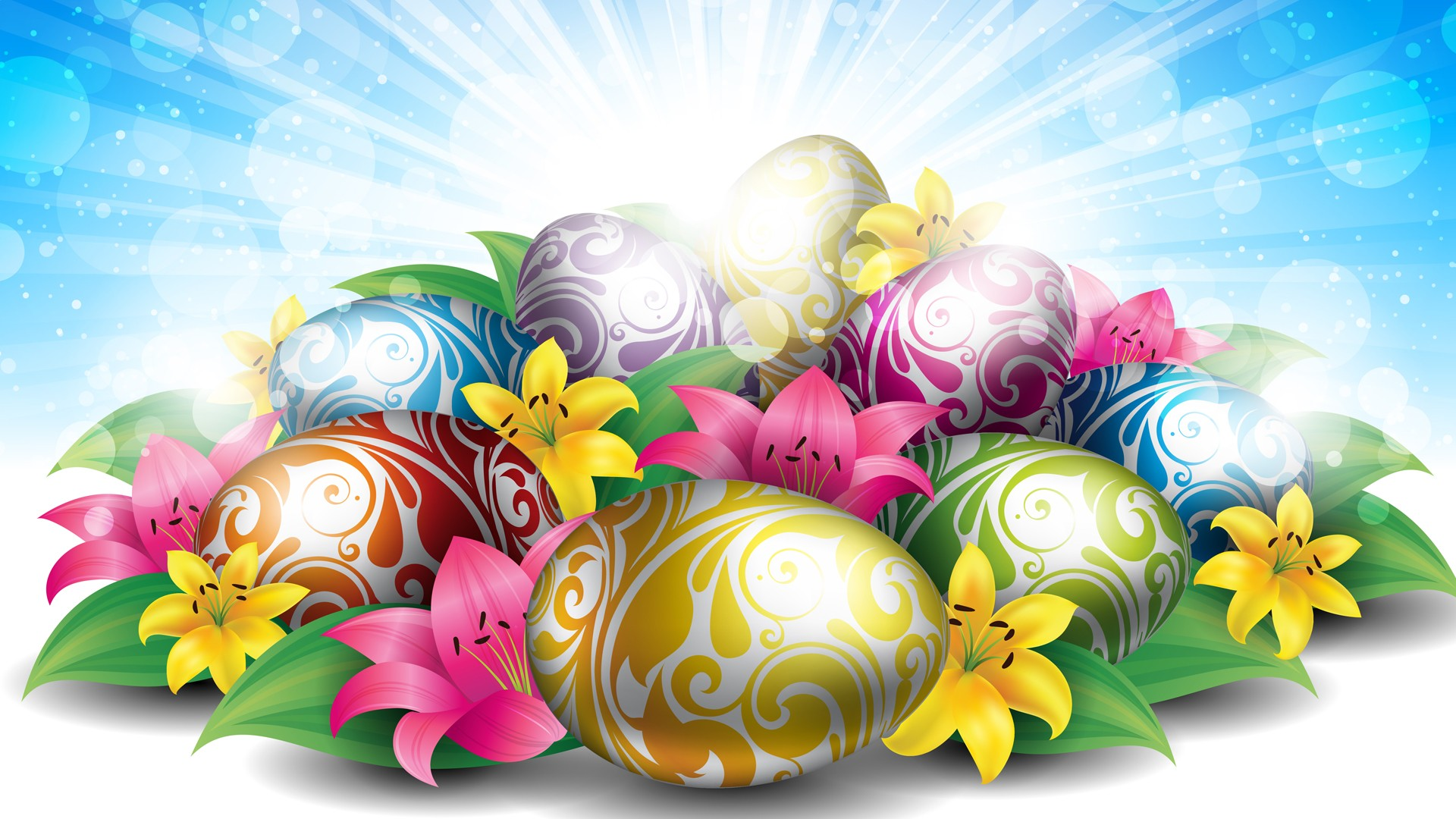 hd wallpaper lilies eggs for easter   Background 1920x1080