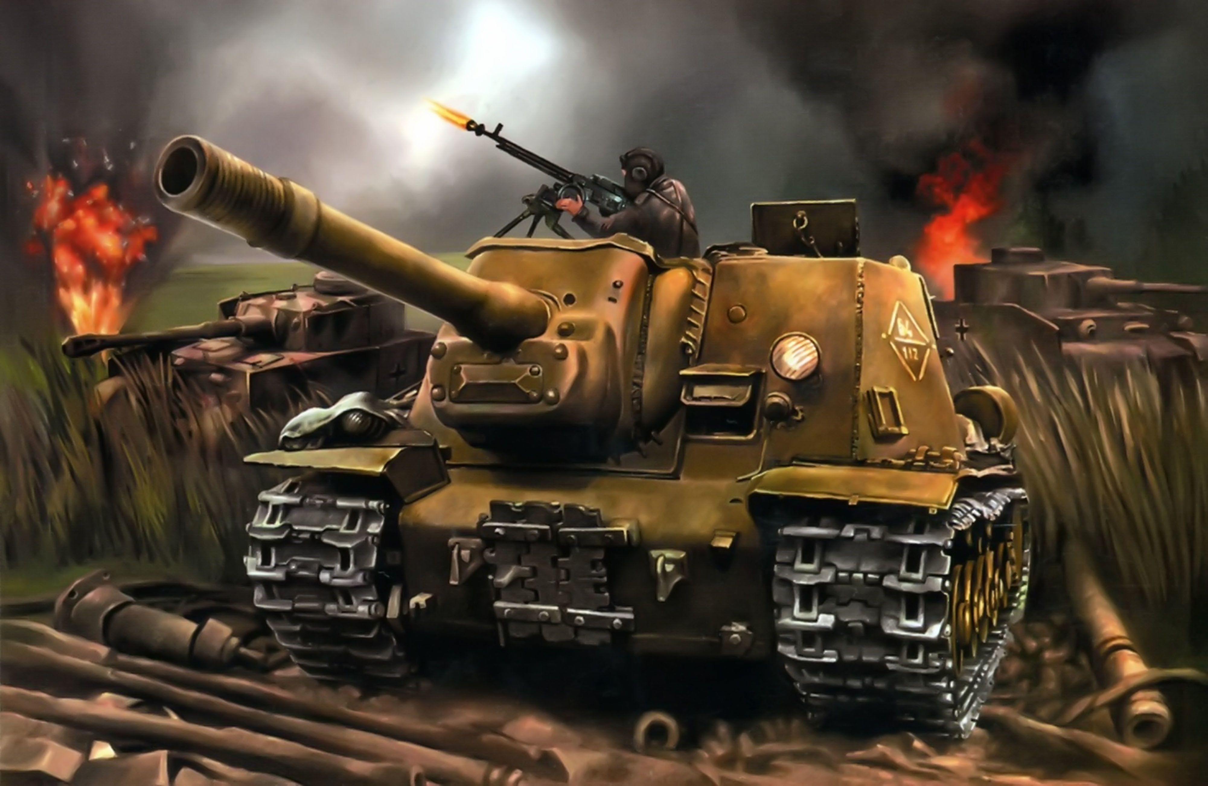 World of Tanks Painting Art SPG ISU 152 tank military battle 4002x2603
