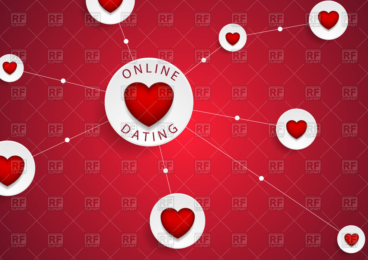 Online dating communication with red hearts background Vector 1200x848