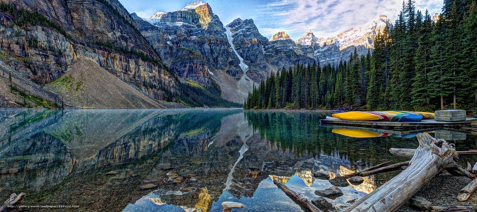 Download wallpaper Moraine Lake Banff National Park lake Mountains 1600x711