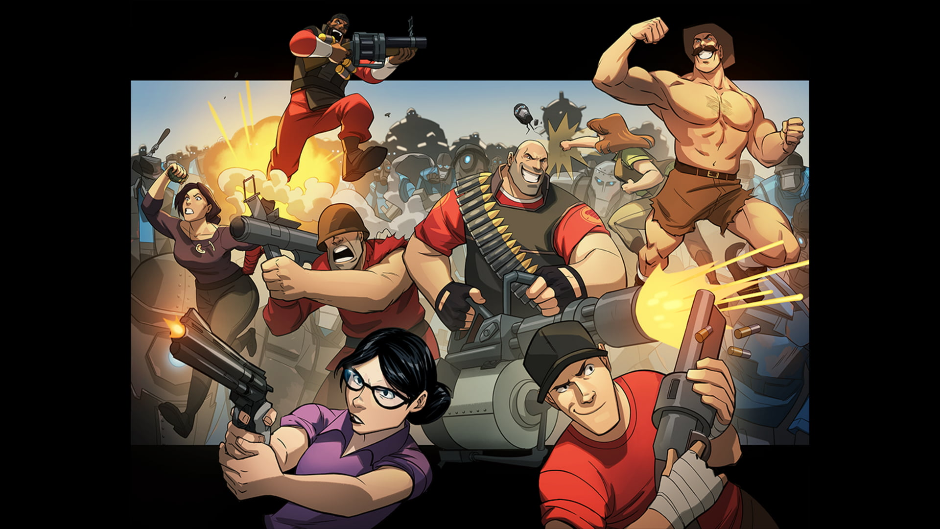Game wallpaper Team Fortress 2 Heavy TF2 Scout TF2 Demoman 1920x1080