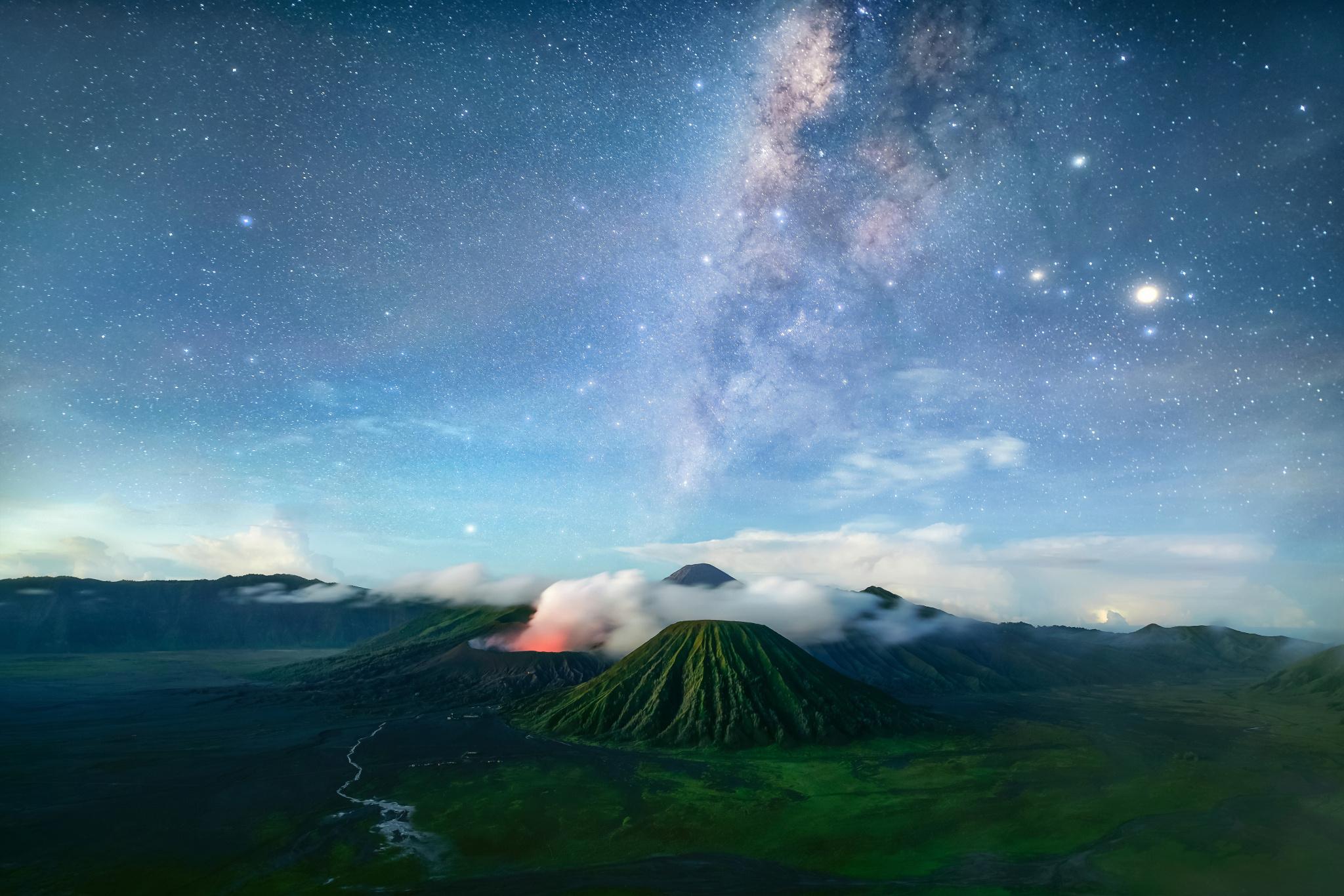Wallpaper bromo, volcano, java, tenger, night, milky way ...