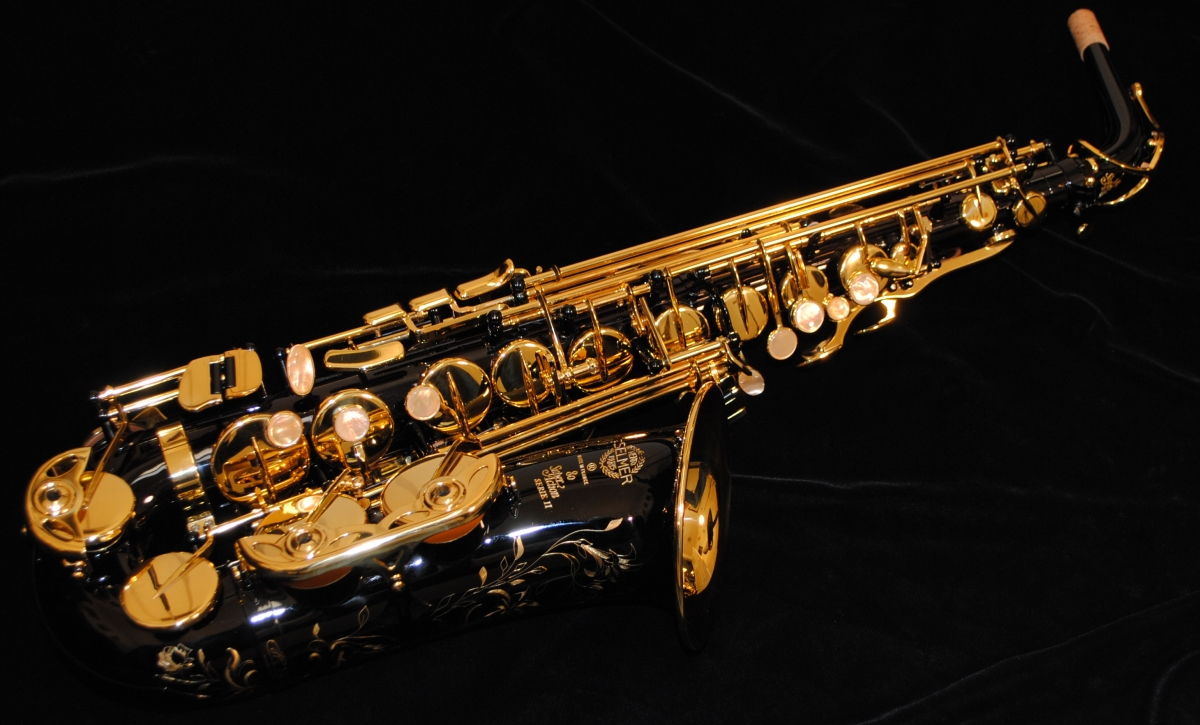 Saxophone On Black Background Hd Desktop Wallpaper Fullscreen Picture 1200x725