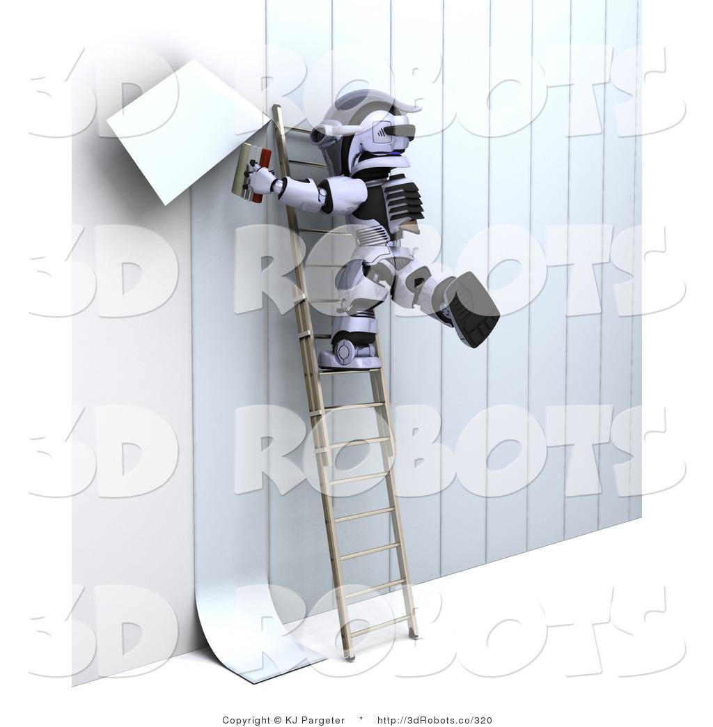 Illustration of a Robot Applying Wallpaper 1024x1044