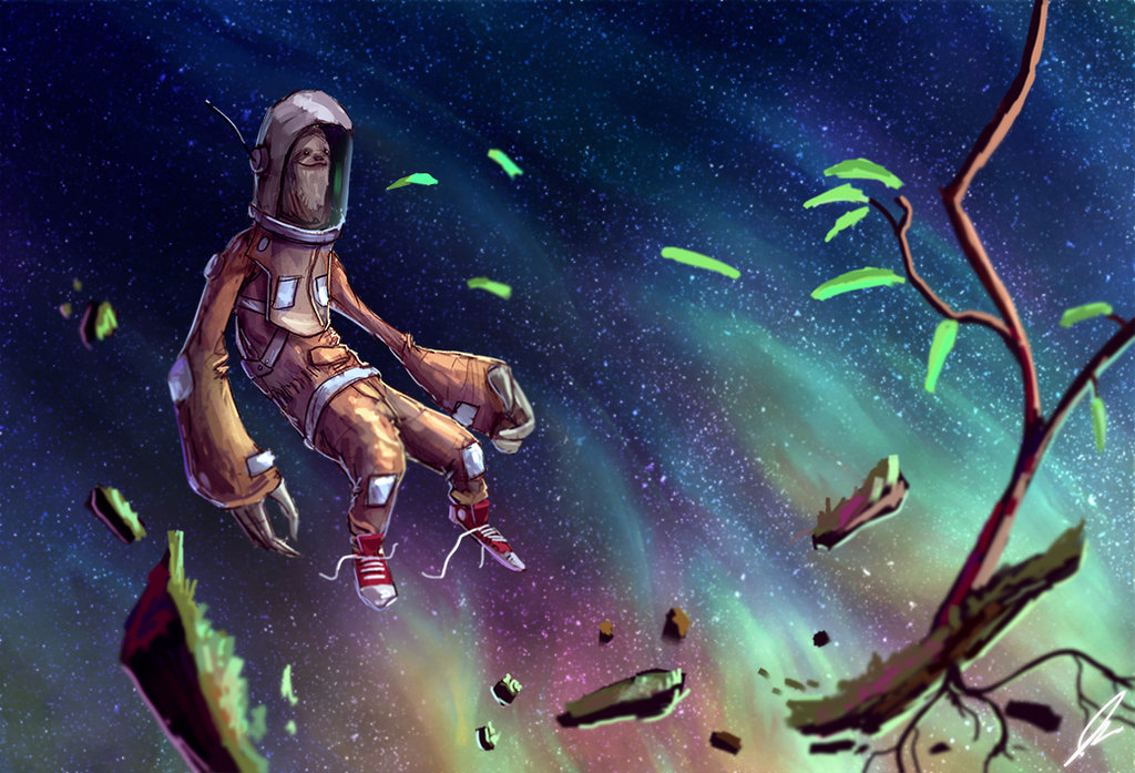 Sloth In Space Wallpaper Space sloth by shaggyhandlz 1024x697