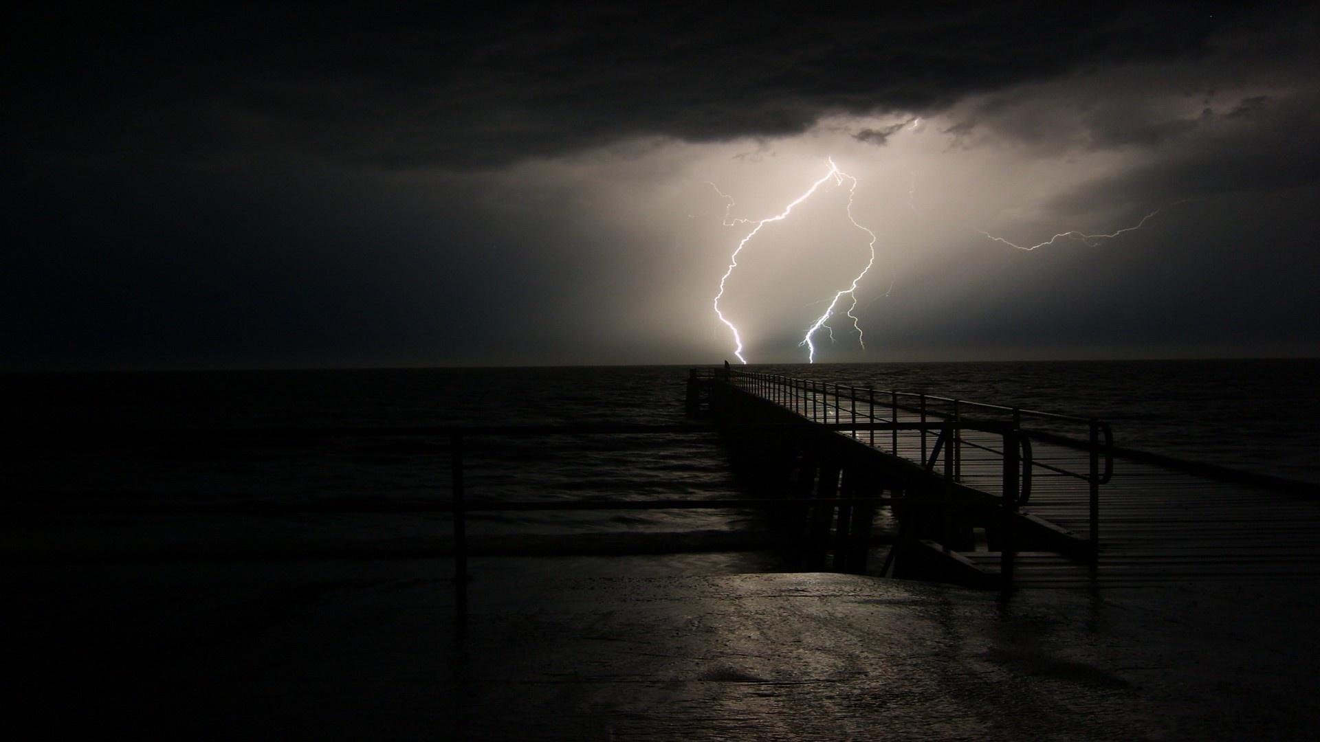 Wallpaper night sea pier lightning Thunderstorm desktop wallpaper 1920x1080