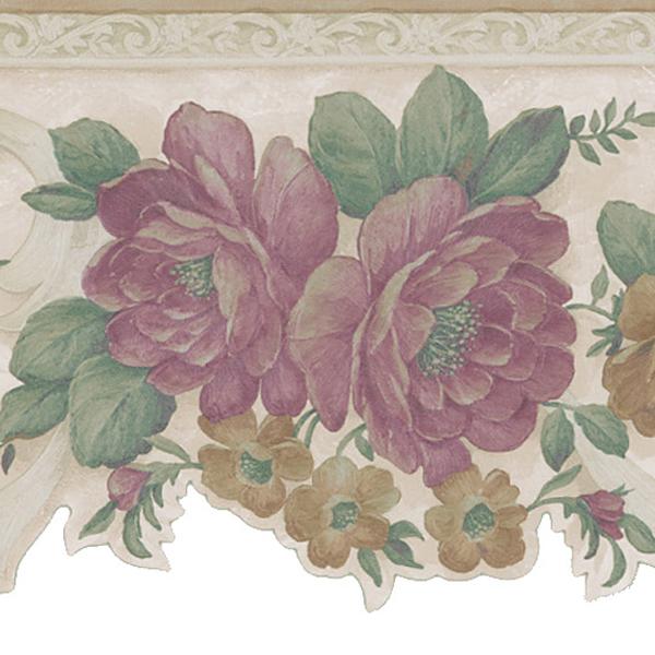 451 1632 Beige Floral Scroll   Brewster Wallpaper Borders 600x600
