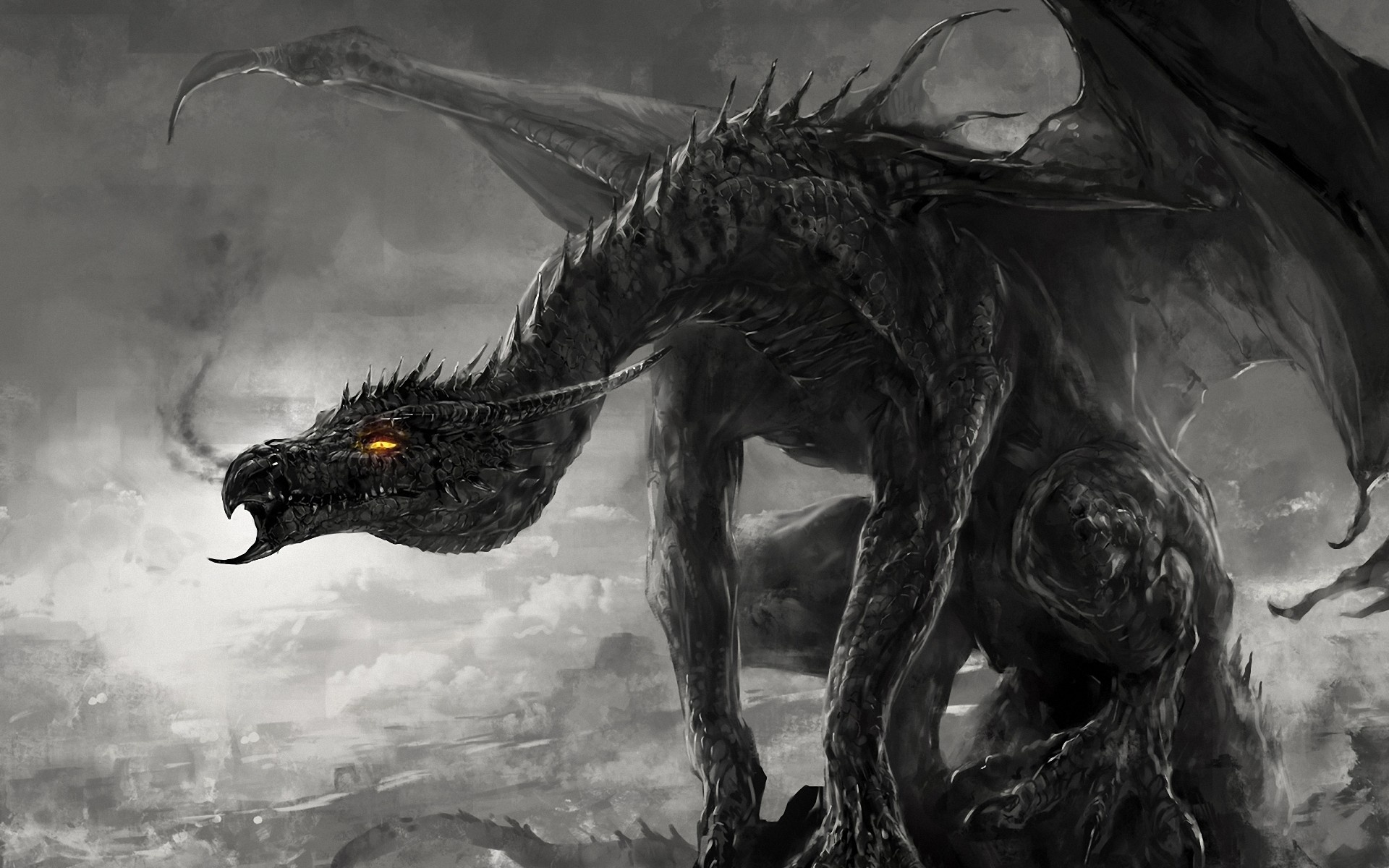 Wallpaper art dragon monster black and white monochrome smoke 1920x1200