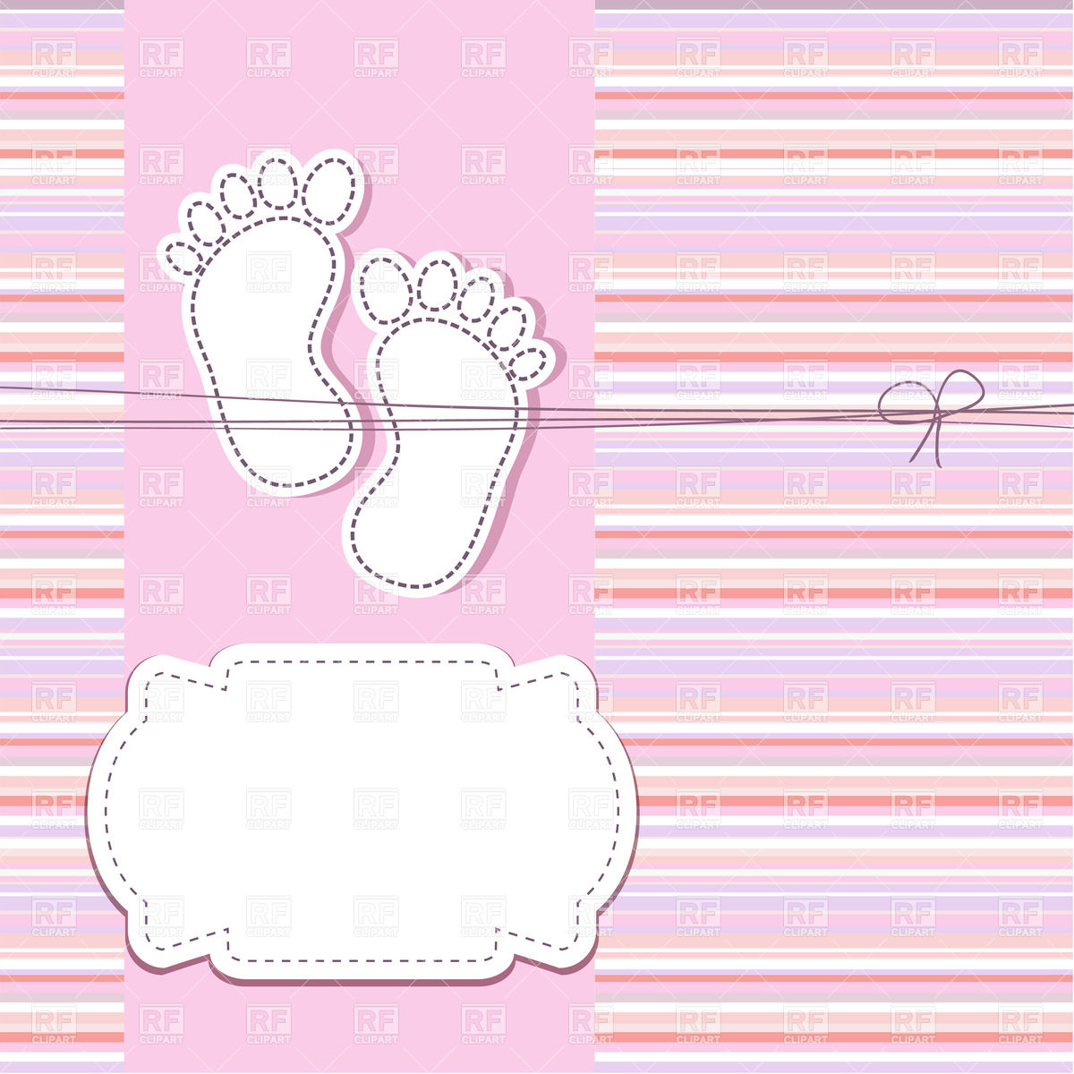 Footprint of the baby and frame for text over colorful stripped 1200x1200
