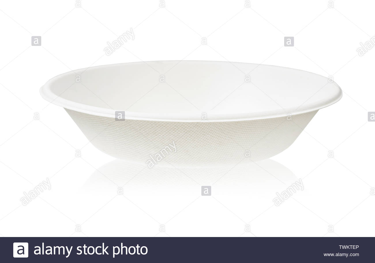 Bagasse bowl for food isolated on white background Saved clipping 1300x911