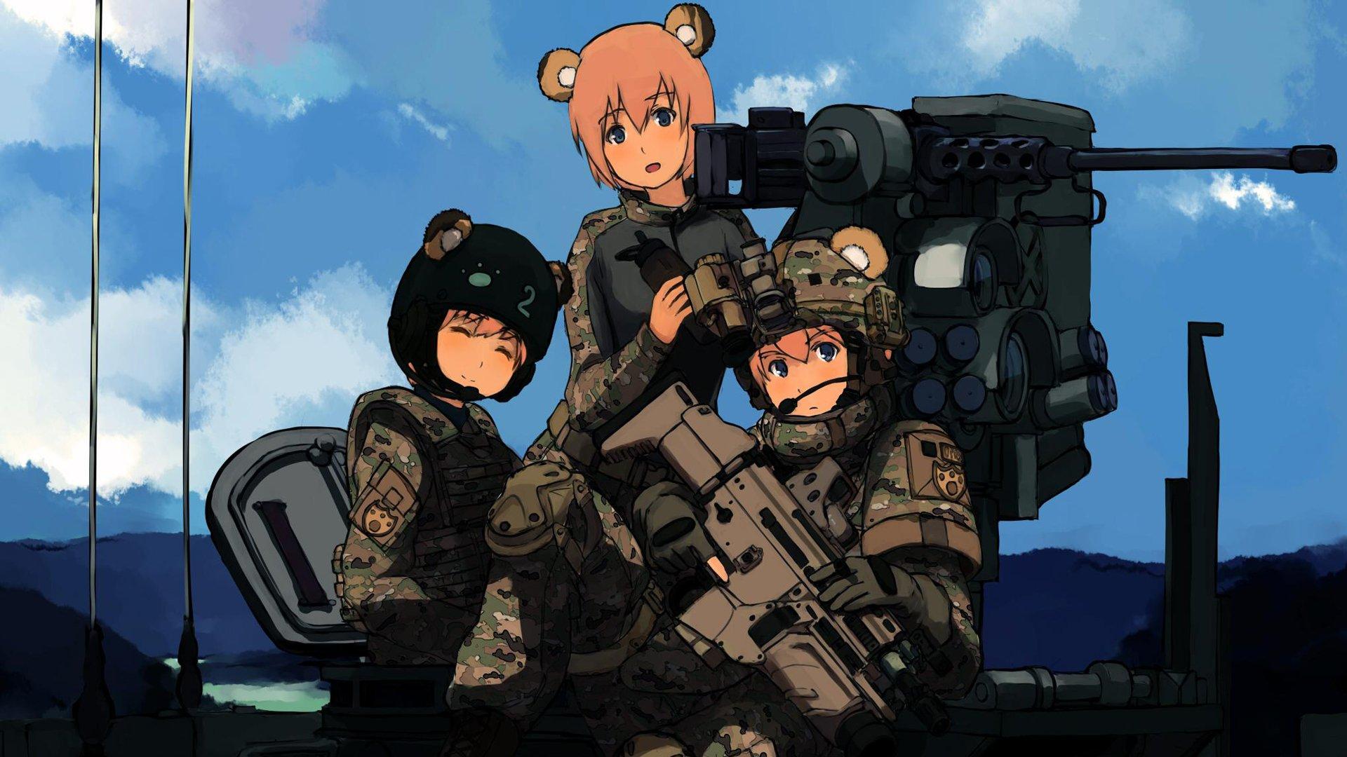 ... animal ears assault rifle anime girls SCAR-H wallpaper background