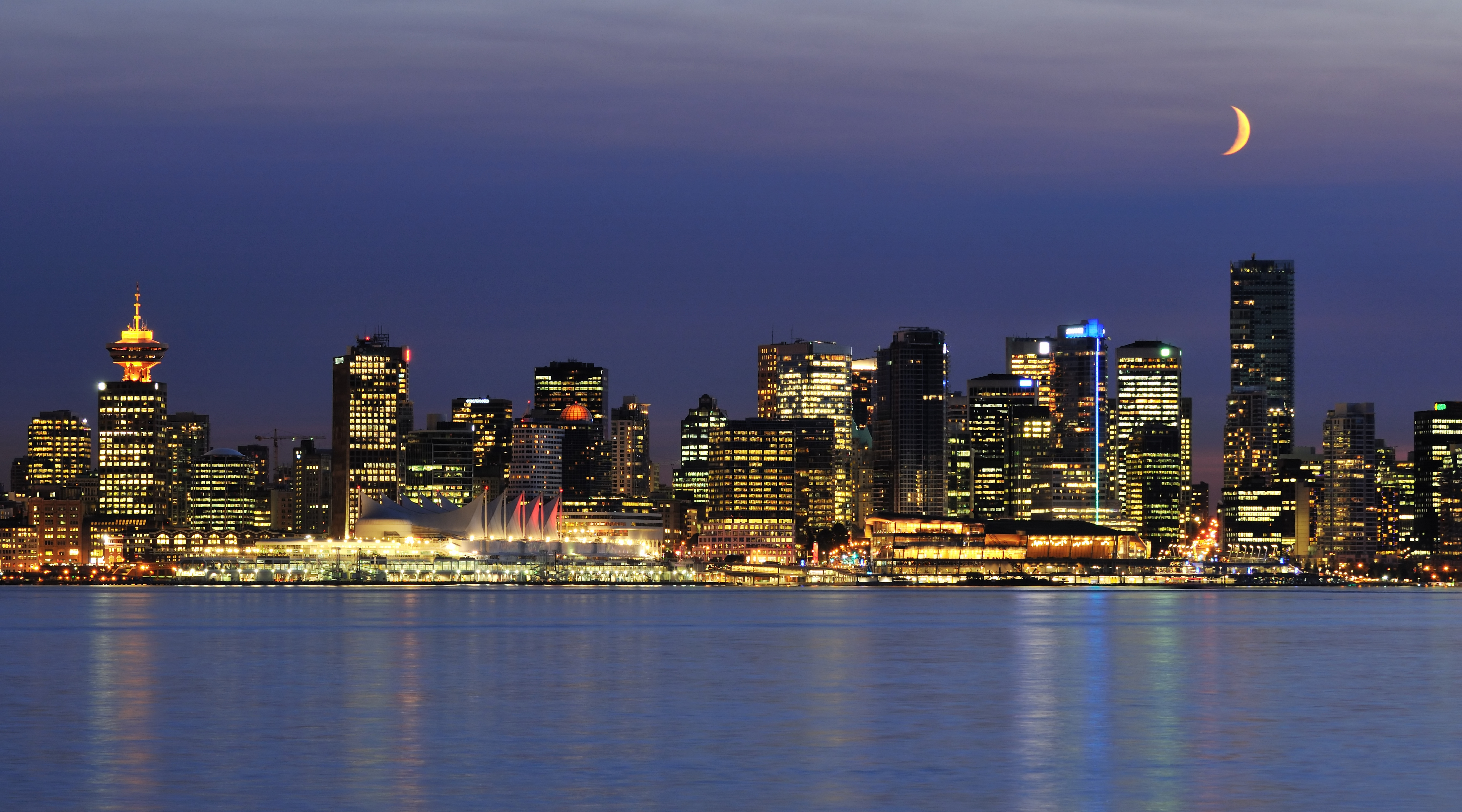 4K wallpaper   City   night Ocean skyscrapers lights moon city 7200x4000