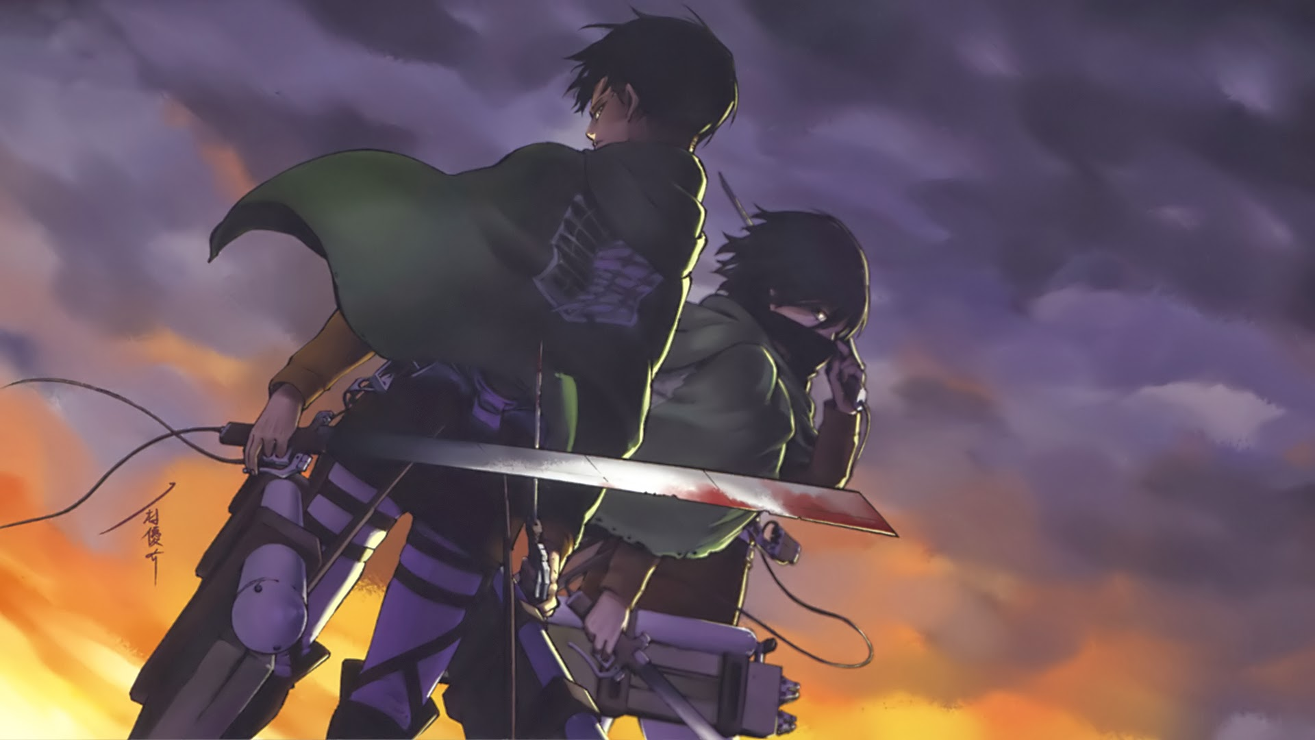 levi mikasa ackerman attack on titan shingeki no kyojin anime hd 1920x1080