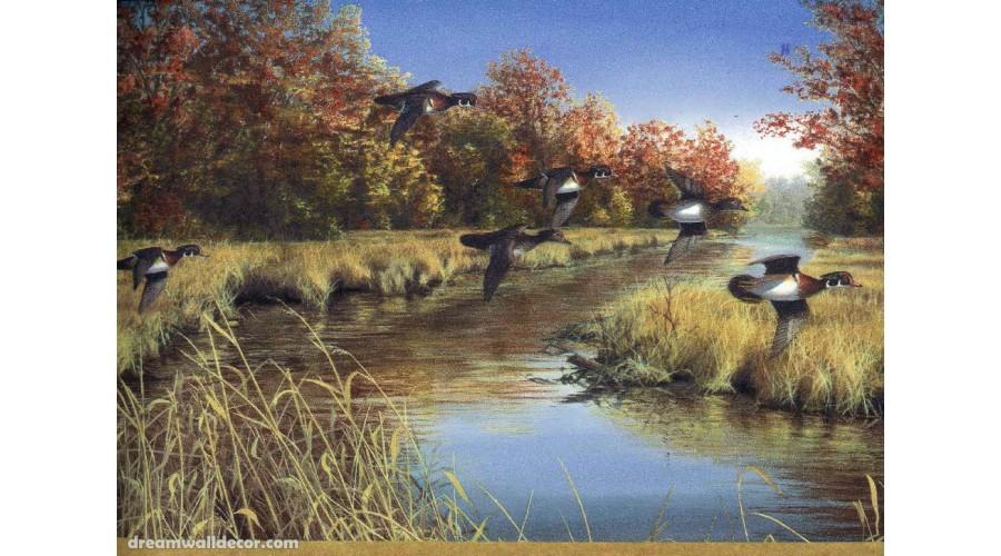 Home Beige Lake Flying Ducks Wallpaper Border 900x500
