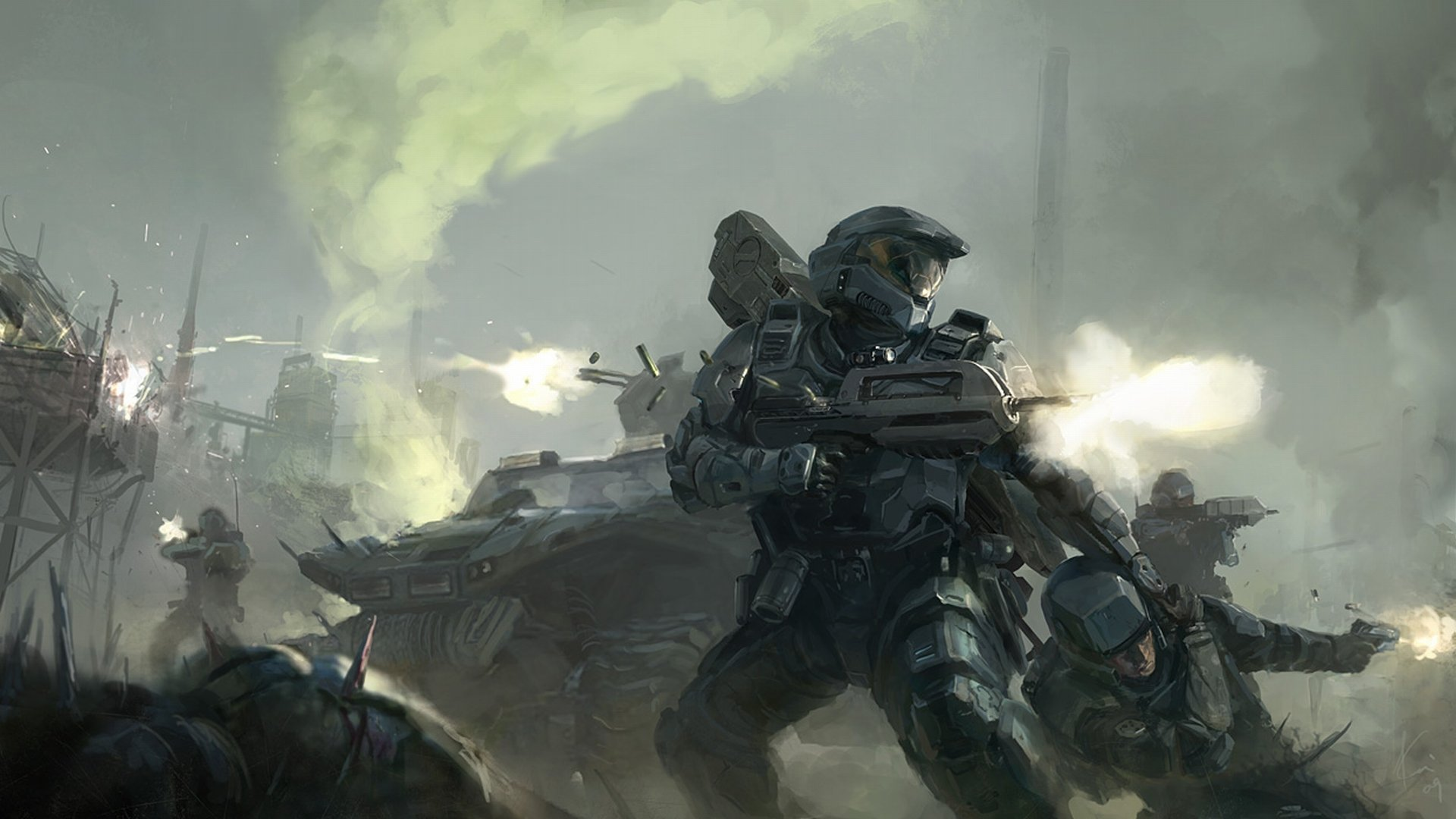 Halo Master Chief Drawing warriors soldiers weapons battle guns 1920x1080