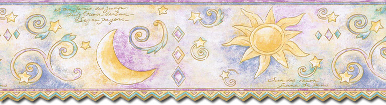 Sun Moon and Stars Wallpaper Border TW38038DB